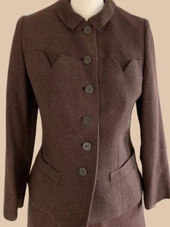 Retro Einfarbige Jacke mit Franse modetalente