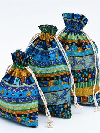 Ethnischer Stil Tunnelzug Tasche aus Baumwolle Leinen