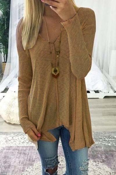 Damen Pullover mit V ausschnitt