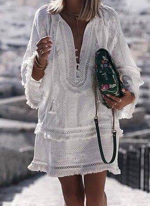 Langarm Boho V Ausschnitt Casual Urlaub Quaste Kleid Kleider Langarm Boho V Ausschnitt Casual Urlaub Quaste Kleid Modetalente