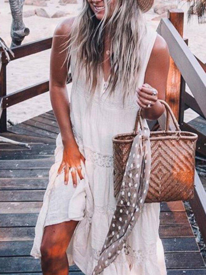 Weiß Unifarben Freizeitkleid | modetalente