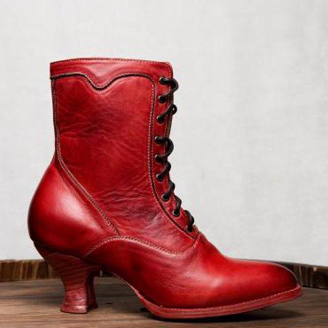 Absatz Schnürung Stiletto Stiefel Mit Und Lässiger 34A5LqRj
