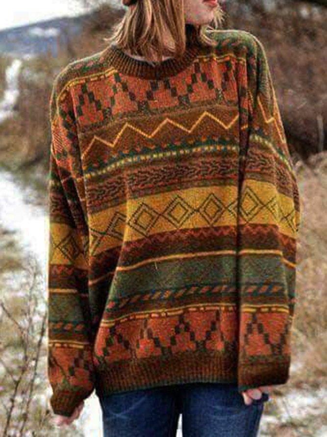 Langarm Baumwollgemischer Pullover