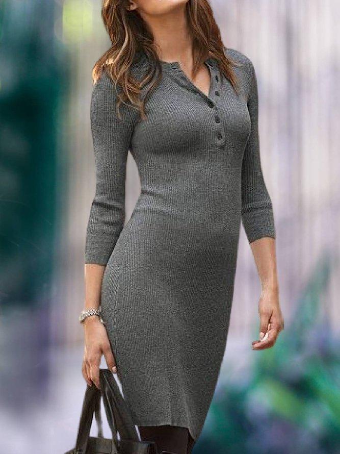 Grau Langarm Unifarben Gestrickt Kleider | modetalente
