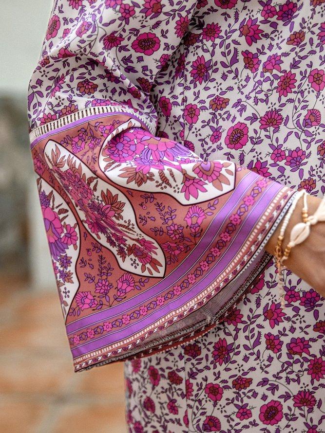 Damen Bohemian Style Sommerkleider Retro Lässige V ...