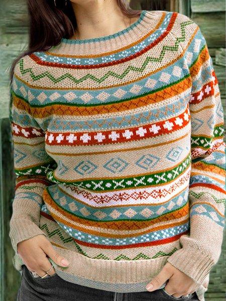Geometrischer Pullover mit Langarm