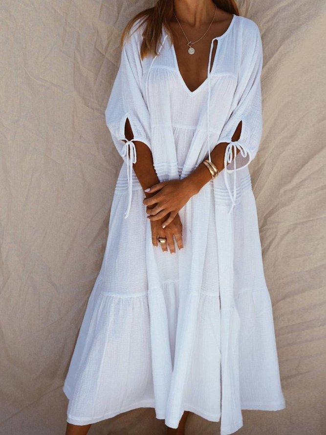 Weiß Baumwollgemisch Freizeitkleid | Kleider | Weiß ...