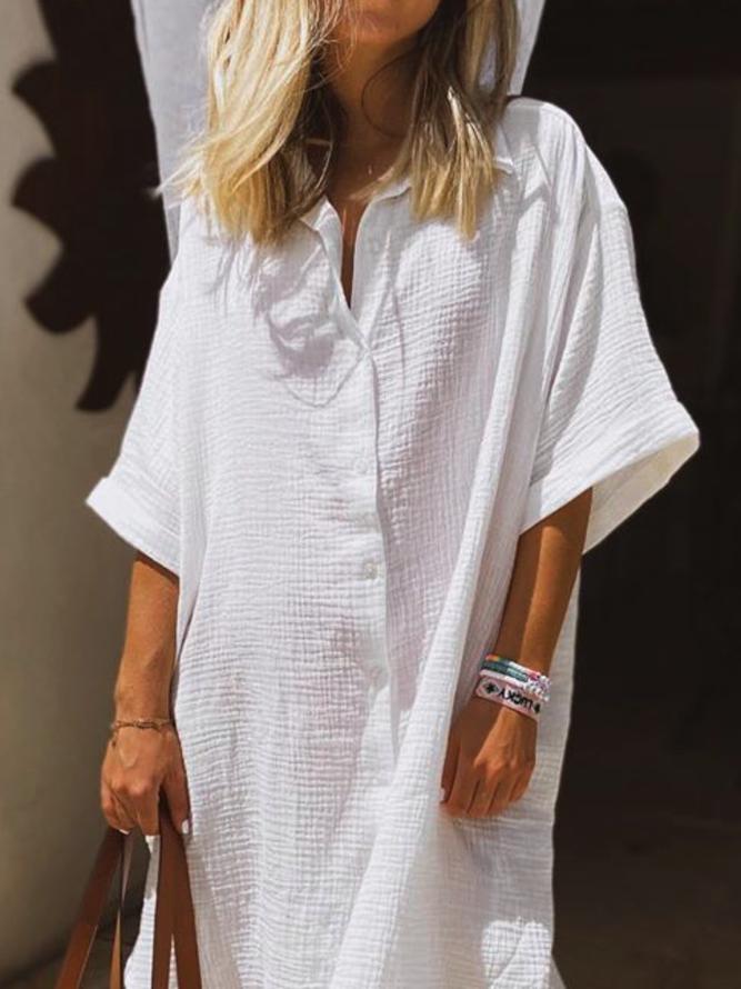 Große Größen Unifarben Freizeitkleid | Kleider | Weiß ...