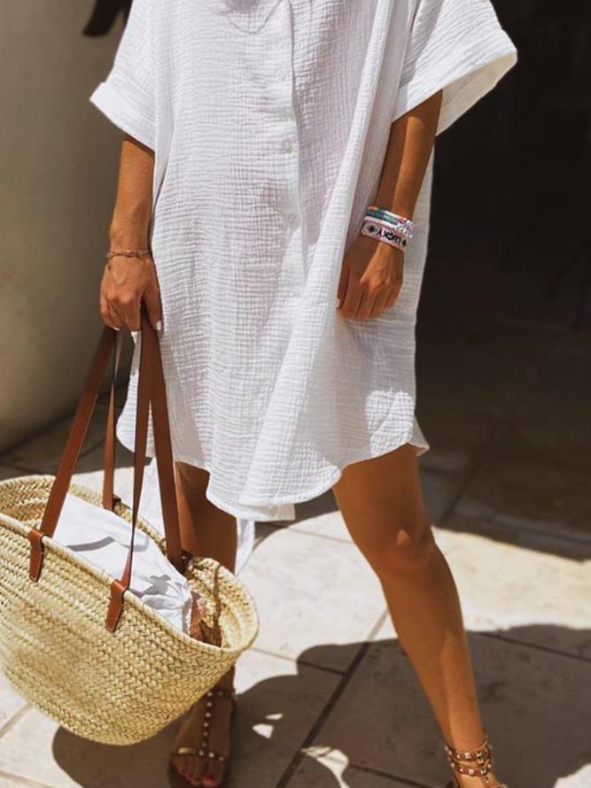 große größen unifarben freizeitkleid | kleider | weiß