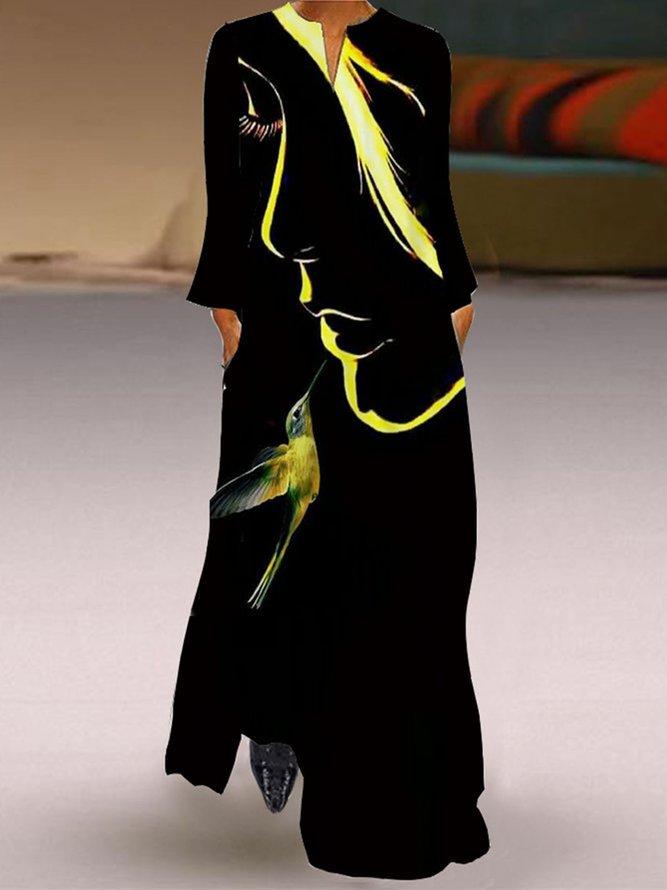 V Ausschnitt Grafik Kleid Mit Langarm Kleider Lassig Langarm Abstrakt Sommerkleider Modetalente Modetalente
