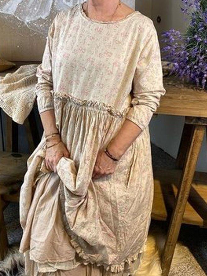 Große Größen Geblümt Rundhals Langarm Kleider | Kleider ...