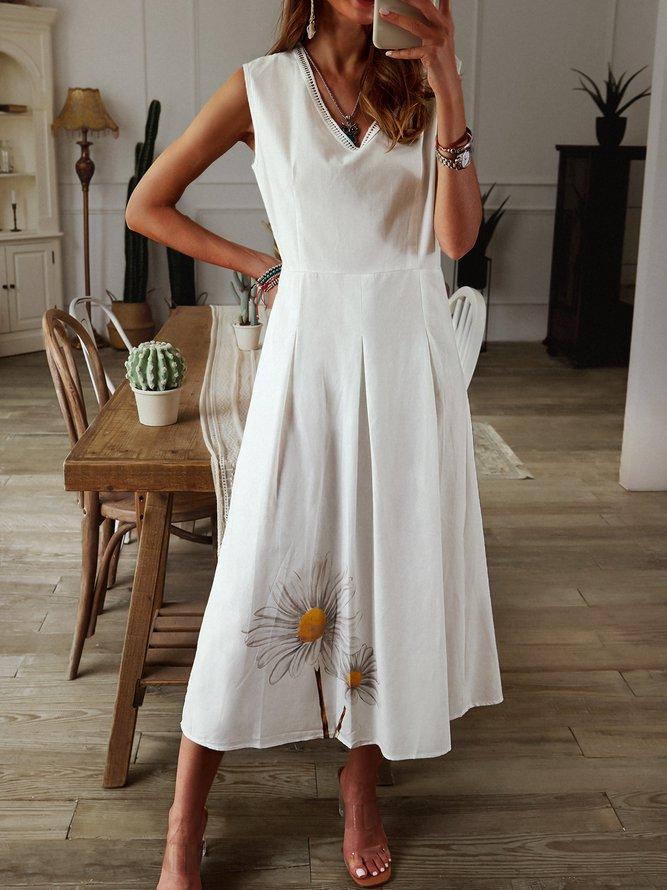 Weiß Baumwolle Geblümt Freizeitkleid | Kleider | Weiß ...