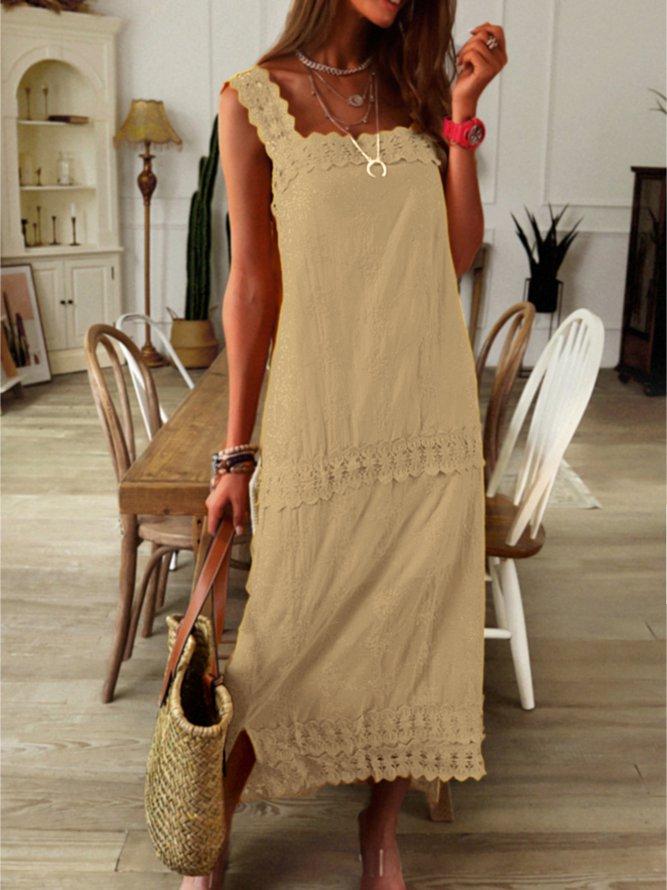 Bohemien Ärmelloses Kleid mit Große Größen | Kleider ...